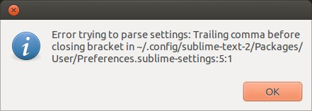 sublime text parse settings error